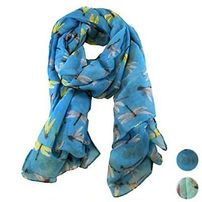 Women Ladies Long Dragonfly Printed Silk Scarf Wraps Shawl Soft Voile Scarves