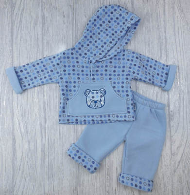 Baby Boy Clothes Hooded Top Trousers  Fleece Blue Bear  0-3 m 3-6 m  6-9 m