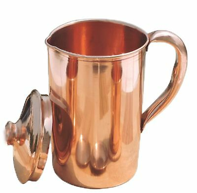 100% Pure Copper Smooth Water Jug Pitcher for Ayurveda Health Benefit NEW 900 ML