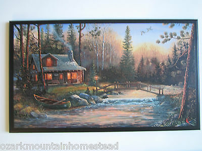 Log Cabin Sign rustic country lodge wall decor plaque scenery primitive picture