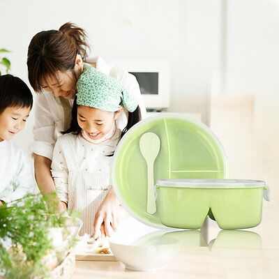Lovely Solid Color Round Fresh Lunch Box Food Container Storage With Spoon G@