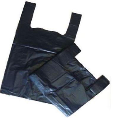 "Strong Durable Black Plastic Vest Drink Wine/Bottle Carrier Bags 8"" x 13"" x 18"""