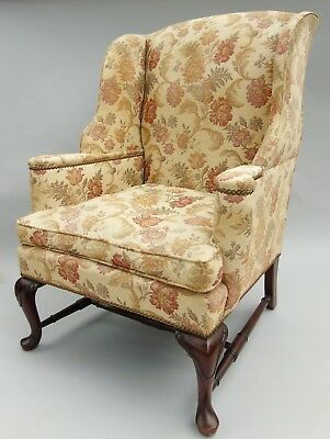Good 18th Century Style Wing Back Upholstered Armchair