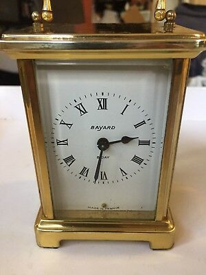 """Vintage """"BAYARD"""" 8 Day 9 Jewels French Mech Move Solid Brass Carriage Clock"""