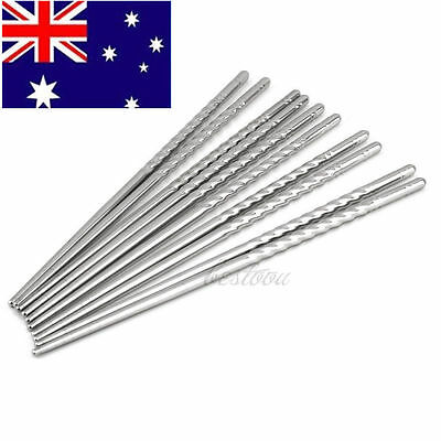 5 Pairs of Stainless Steel Chopsticks Anti-skip Thread Style Durable Silver  WP#