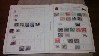 Lot of 209 Czechoslovakia Stamps 1918-46 on Minkus Album Pages
