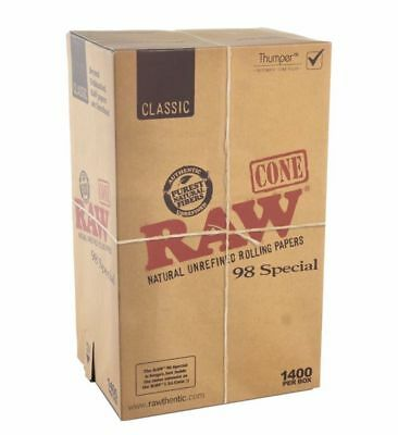 RAW classic 98 special Prerolled CONES w Tips. FULL BOX  (1400 cones) Fast Ship