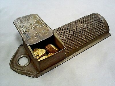 Antique Tin Spice/nutmeg Grater With Storage Box/compartment & Sliding Lid