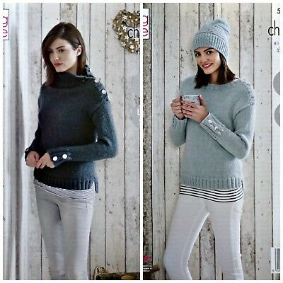 KNITTING PATTERN Ladies Easy Knit Shoulder Fastening Jumpers & Hat Chunky 5178
