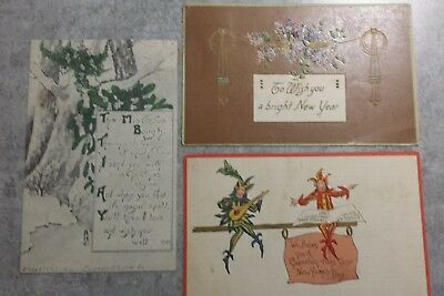 Late Victorian Christmas Cards Lot Of 3