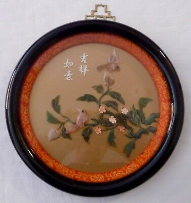 """Vintage Round Framed ASIAN WALL HANGING Plaque Picture in Relief 7.1/2"""""""