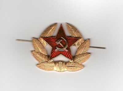 Russian Military Badge Army USSR Soviet Red Star Hat Pin Cockade worn on Cap