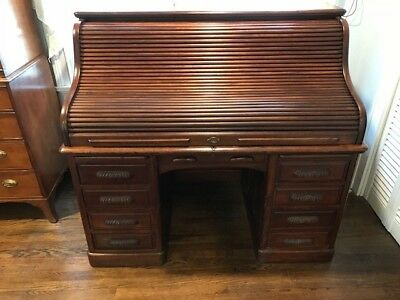 Antique 19th Century Mahogany Roll Top Desk - ANTIQUE 19TH CENTURY Mahogany Roll Top Desk - $355.00 PicClick