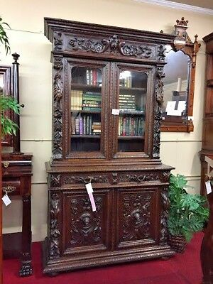Antique French Hunt Cabinet - Hand Carved OAK - Delivery Available!
