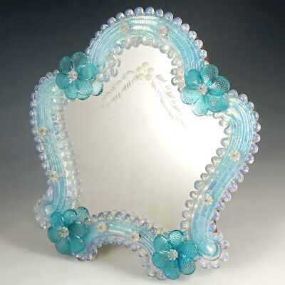 Italian Venetian Murano Art Glass Vanity Table Wall Mirror, Opalescent Blue Rose