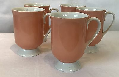 Holt Howard Footed Coffee Cups Set Of 4 Farmhouse Pink Holiday Decor