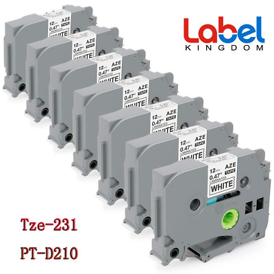 7PK TZ 231 TZE-231 Black on White P-Touch Label Tape Compatible Brother 12mm NEW
