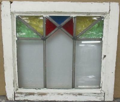 "OLD ENGLISH LEADED STAINED GLASS WINDOW Colorful Geometric Design 17.25"" x 15.5"""