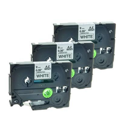 TZe221 TZ221 Black on White 9mm Label Tape P-Touch Compatible Brother  3PK NEW