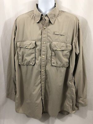 4f66d8355a621 Orvis Men Beige Fishing Shirt Vented Outdoor Roll Up Long Sleeve Button  Front XL