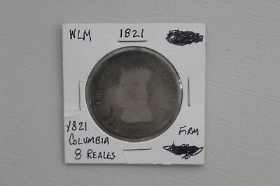1821 Silver 8 Reales Republic Of Columbia Low Grade Problem Free