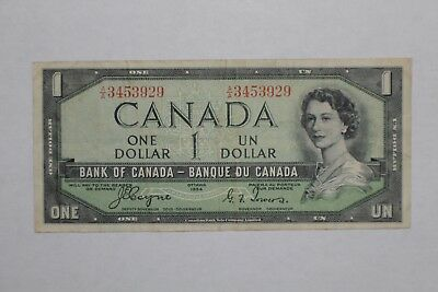 "1954 Canada Paper Money - One Dollar ""Devils Face"" Banknote"