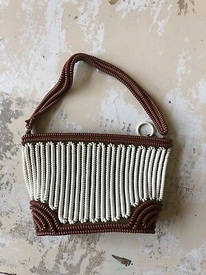 Vintage Phone Cord Bag - Brown And White - Antique Purse