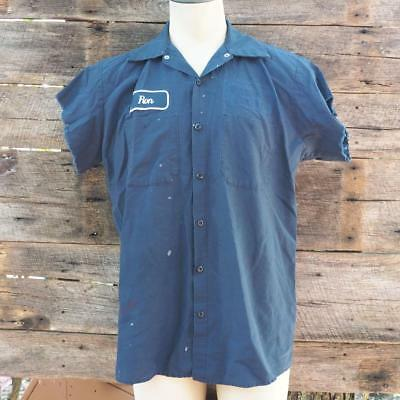 Vintage Red Kap Ron Industrial Cut Off Sleeve Men's Cotton Work Shirt Size L