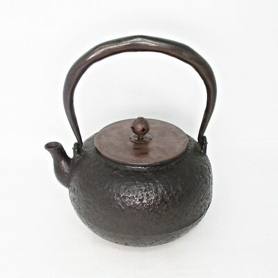 G625: Japanese TETSUBIN iron kettle of good quality of iron and tasty copper lid