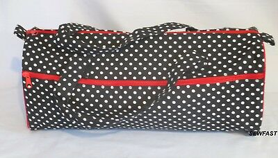 Storage Bag for Knitting Crochet Craft / Black with White Polka Dots Red Trim
