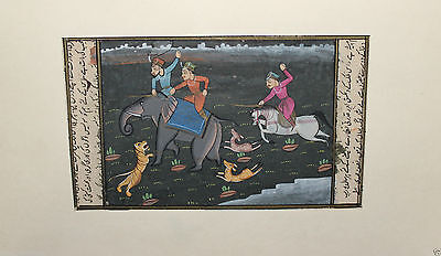 Vintage Hand Made Water Color Folk Art Painting Miniature mughal warriors