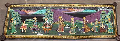 Very Beautiful Vintage Hand Painting Radha Krishna Water Color Cloth Painting 08