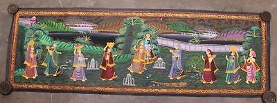 Very Beautiful Vintage Hand Painting Radha Krishna Water Color Cloth Painting 09