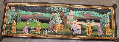Very Beautiful Vintage Hand Painting Radha Krishna Water Color Cloth Painting 05