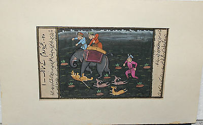 Vintage Hand Made Water Color Folk Art Painting Miniature mughal hunting warrior