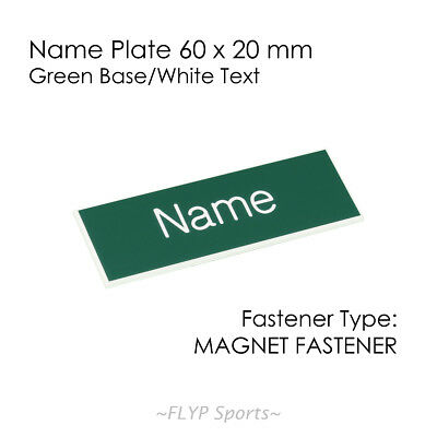 Name Badge Tag Plate Green/White Magnet 60x20mm Personalised Engraved Employee