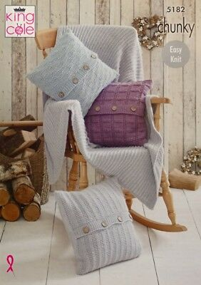 King Cole Knitting Pattern Striped Blanket Cushion Covers Riot Chunky 4236