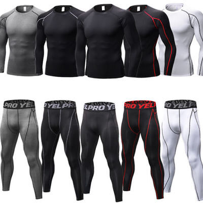 Mens Tights Athletic Base Layers Spandex Long Pants Compression Quick-dry Jersey