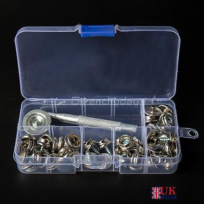 62Pcs 15mm Snap Fastener Stainless Steel Canvas Screw Press Stud Boat Cover 000