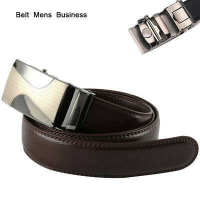 Leather Mens Automatic Ratchet Buckle Waist Strap Belts NEW! 2018 Gifts 000