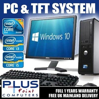 FULL DELL/HP DUALCORE/ i3 DESKTOP TOWER PC & TFT COMPUTER SYSTEM WINDOWS 10