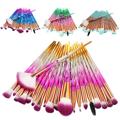 20 PCS Unicorn Diamond Make up Brushes Set Foundation Eyeshadow Lip Powder Tools
