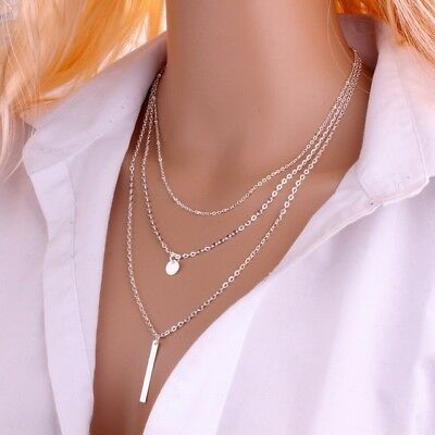 Lariat Necklace Coin Bar Triple Y Drop Chain Simple 3 Layer Silver Gold Dainty