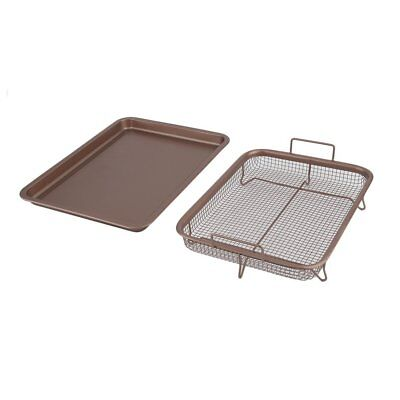 13 Inch Food Copper Plated Rectangle Crispy Tray Kitchen Cooking TU