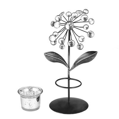 Tealight Holder Iron and Glass with Acrylic Beads Flower Candle RO