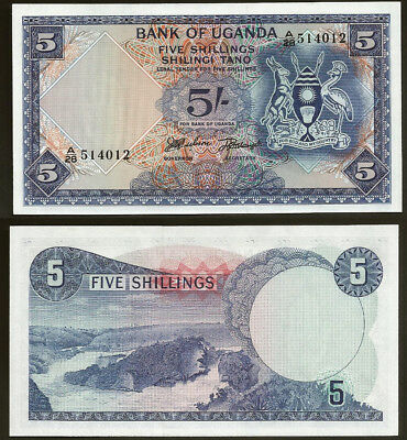 Uganda 5 Shillings P1 1966 Uncirculated Ugandas First Banknote 'A' Serial UNC