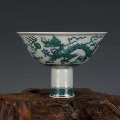 Nice Old Chinese Ming Dou Colour Porcelain Dragon High foot bowl
