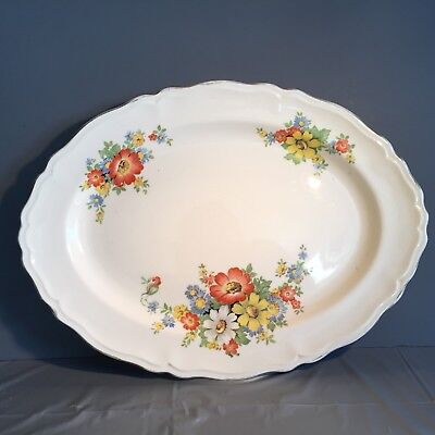 "Vintage Knowles China Daisies Scalloped Platter 41-4 Black Stamp 9.75"" x 13.5"""