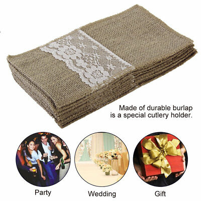 10 Pieces Knife And Fork Burlap Lace Bag Tableware With Jute Rope Elegant NP#