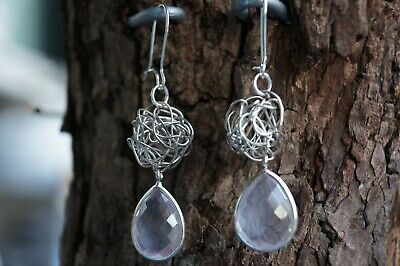 Rose Quartz Earrings Faceted Natural Gemstone Tear Drop Fine Solid 925 Silver